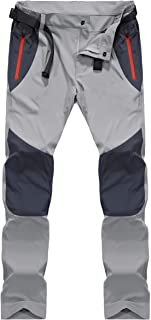 MAGCOMSEN Men's Outdoor Quick Dry Pants Side Elastic Waist Lightweight Breathable Hiking Pants with Zipper Pockets