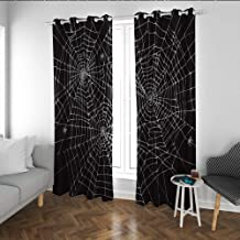 Linhomedecor Spiderweb Fabric Curtains for Living Room Greyscale Halloween Style Web Design Composition Scary Themes Print Keep Warm Draperies Wide Blackout Curtains Charcoal Grey and White