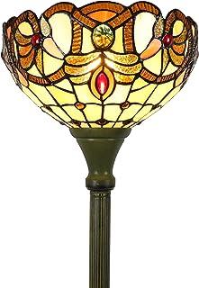 Tokira Tiffany Lampadaire, 12 Pouces Fait Main Verre Multicolore Abat-jour Art Deco, Lampadaire Baroqu Style Européen Adap...