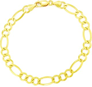 """14K Yellow Gold Solid 7mm Figaro Link Chain Bracelet, 7""""- 9"""""""