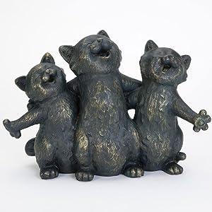 Bits and Pieces bits y Piezas–Cantando–Tibetano de Estatua de Gatitos Gatos Jardín Escultura–Gran Animales Decorativo Regalo