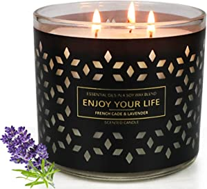 Aromatherapy Candle for Home Scented, Large Jar Candle, 17oz, Up to 150 Hours User Time, Stress Relief, Lavender&Juniper Candles for House, Gifts for Friends Female, Birthday Gifts for Women