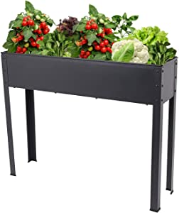 Fameill Raised Elevated Garden Bed Planter Box with Legs Outdoor Patio Flower Vegetables Herb Container Gardening,Black,39 x 12 x 31.5 inches