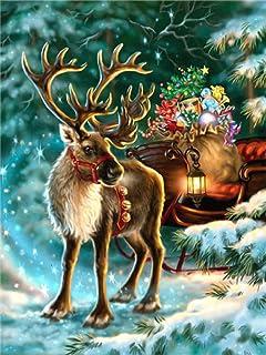 DIY 数字油画 帆布油画 画手绘 DIY绘画 数码油画儿童 成人 面向初学者 操作简单40x50cm(フレームレス)クリスマスエルク
