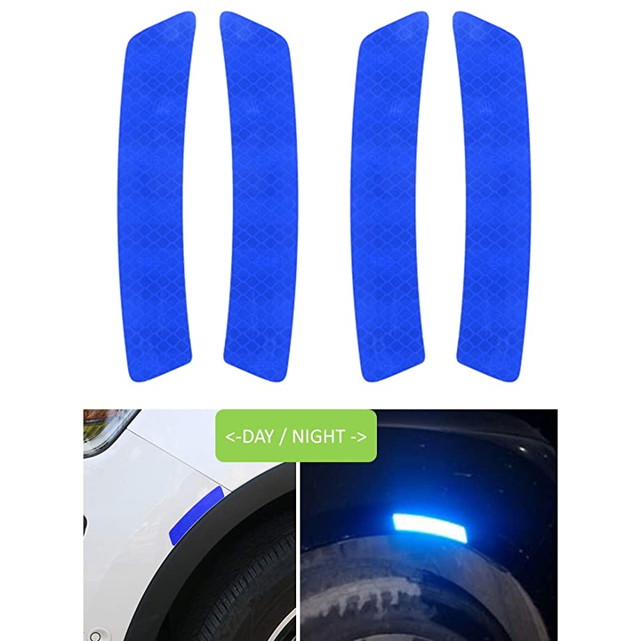 Reflective Tape Caution Warning Safety Reflector Strips Sticker Fluorescent Waterproof Reflective Car Decals for Automobile Car Pickup Truck SUV RV Boat Motorbike Helmet 4pcs (Blue, 5.5-in x 0.9-in)