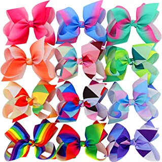 Myamy 6 inches Hair Bows For Girls Large Big Grosgrain Ribbon Boutique Rainbows Hair Bow Clips For Kids Toddlers Teens Children Gifts Set Of 12