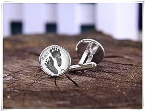 Footprint Cufflinks, Keepsake For Dad, Baby Footprint Or Handprint, custom baby cuff links