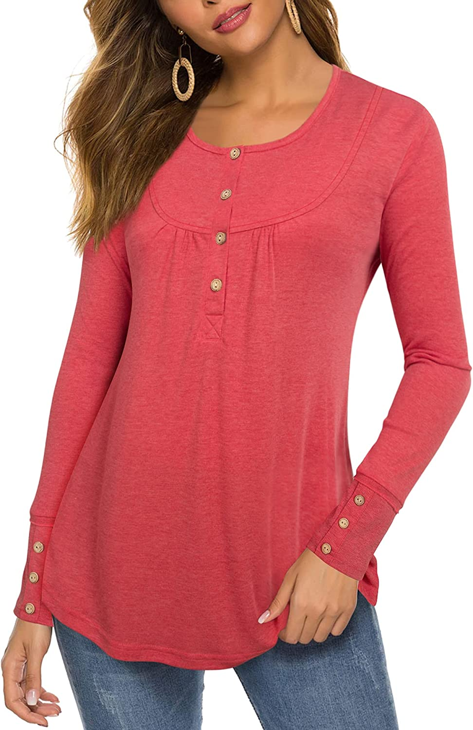 Furnex Women's Casual Long Sleeve Round Neck Tunic Shirts Pleated Blouses Tops with Buttons