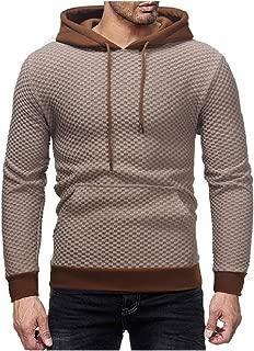 Mogogo Men's Plaid Long Sleeve Pullover Hood Kangaroo Pocket Drawstring Tracksuit Top