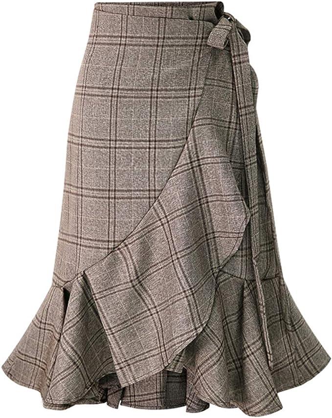 1930s Style Skirts : Midi Skirts, Tea Length, Pleated chouyatou Womens Elegant Work Wear Adjustable Waist Flounce A-Line Plaid Midi Wrap Skirt  AT vintagedancer.com