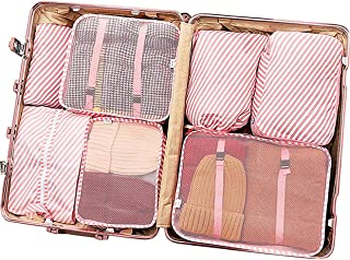Luggage Organizer, 7 Set Packing Cubes for Travel with Shoe Bag, Compression Cells, Accessories Bags Made with Wearable Waterproof Material. Perfect for Travel, Long Trips, Camping (Pink Stripe)