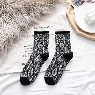 zhoujie, ZHOUJIE Calcetines de Dibujos Animados Bonitos para Mujer, Medias de algodón a Cuadros, Calcetines Harajuku Retro para Mujer-Negro