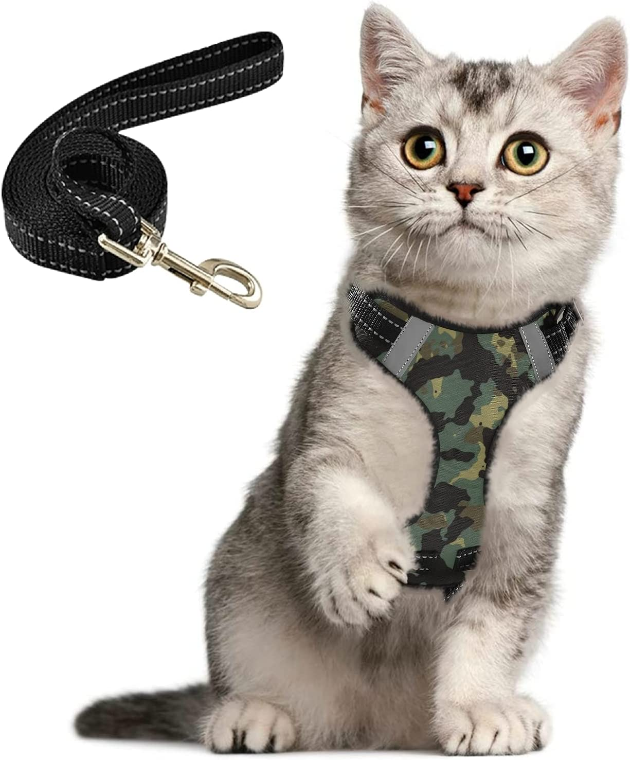Green Camo Cat Harness and Leash Walking Proof A for Manufacturer Mail order cheap direct delivery Set Escape