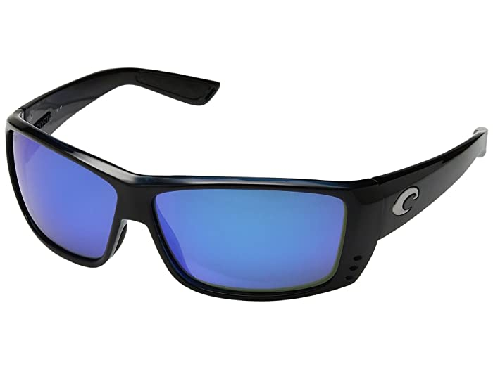 Costa  Cat Cay 580 Mirror Glass (Black/Blue Mirror 580 Glass Lens) Sport Sunglasses