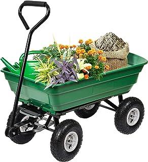 "BestMassage Garden Cart Utility Yard Dump Cart Wagon Carrier Wheelbarrow 4 Air Tires with Poly Pulling Wagon 10"" Pneumatic Tires,Heavy Duty Steel Frame"