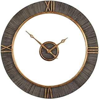 Uttermost Alphonzo Wall Clock in Antique Gold and Charcoal