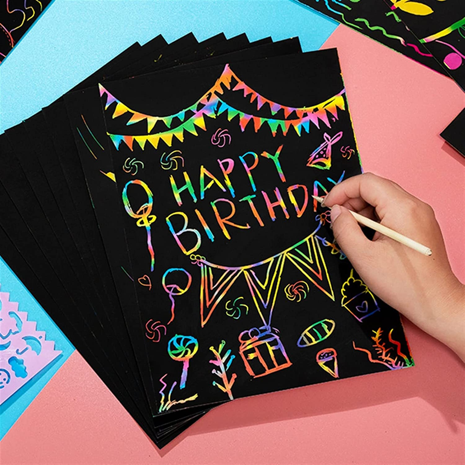 YSJJLRV Writing Super We OFFer at cheap prices Special SALE held Tablet Magic Rainbow Scratch Art Color Paper Car