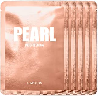 Best LAPCOS Pearl Sheet Mask, Daily Face Mask with Probiotics to Brighten and Clarify Skin, Korean Beauty Favorite, 5-Pack Review