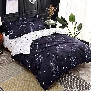 Papa&Mima Dark Grey Moon Stars Simple Brief Polyester Microfiber Duvet Cover Set Bedsheet Pillowcases Bedding Set 4pc Queen Size 86