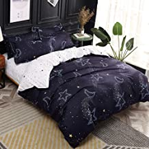 Papa&Mima Dark Grey Moon Stars Simple Brief Polyester Microfiber Duvet Cover Set Bedsheet Pillowcases Bedding Set 4pc Full Size 78