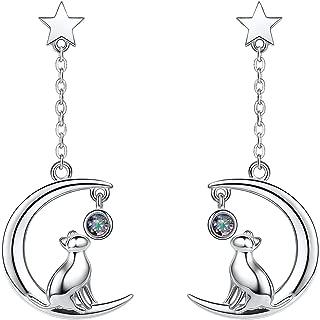 SILVERCUTE Cat Ear Kitten Charm Necklace BFF Friendship Jewelry 925 Sterling Silver 18
