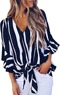 Womens Fall Striped V Neck Tops 3/4 Flare Sleeve Tie Knot...