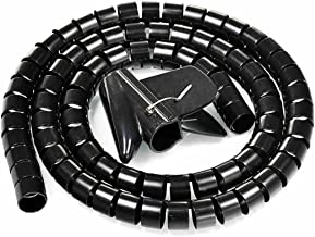 uxcell 20mm Flexible Cable Organizer Spiral Tube Cable Wire Wrap Computer Manage Cord Black 2M with Clip