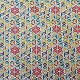 Stoff Baumwollstoff Meterware Mosaik rot blau gelb