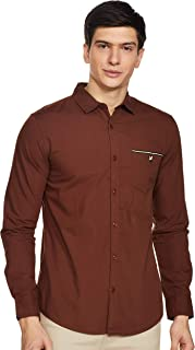 Amazon Brand - House & Shields Men's Solid Regular fit Casual Shirt (H&S-PP-1E_Brown M)