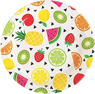 Fun Express - Tutti Frutti Dinner Plate for Party - Party Supplies - Print Tableware - Print Plates & Bowls - Party - 8 Pieces