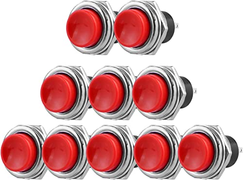 popular Larcele Push Button Switch 2 Pin Momentary Round Button Switch, Mounting lowest Hole 2021 16mm,10 Pieces ANKG-10(Red) online