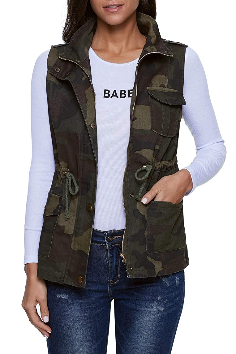 SENSERISE Womens Lightweight Sleeveless Military Anorak Drawstring Jacket Vest