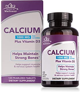 Calcium Supplement with Vitamin D3 - Bone Strength Support by Honest To Wellness for Muscular and Nervous System Health – 1000MG – 120 Count