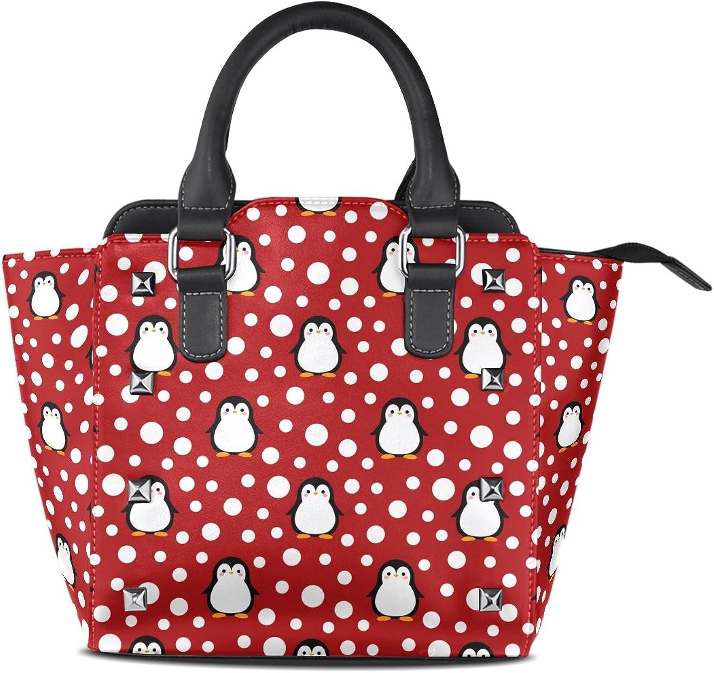 My Little Nest Women's Top Handle Satchel Handbag Cartoon Cute Penguin Ladies PU Leather Shoulder Bag Crossbody Bag