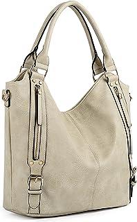 UTO Damen Handtasche Schultertasche Shopper PU Leder Handtasche Fashion Gross Capacity Bags Khaki