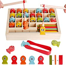 Wooden Magnetic Fishing Math Game Matessori Toys for Toddler، Fine Motor Skill Rorting Color Toy for Age 3 4 5 6 Years Old Kid - آموزش پیش دبستانی آموزش بازی های روی صفحه با 2 قطب ماهیگیری 1 گیره