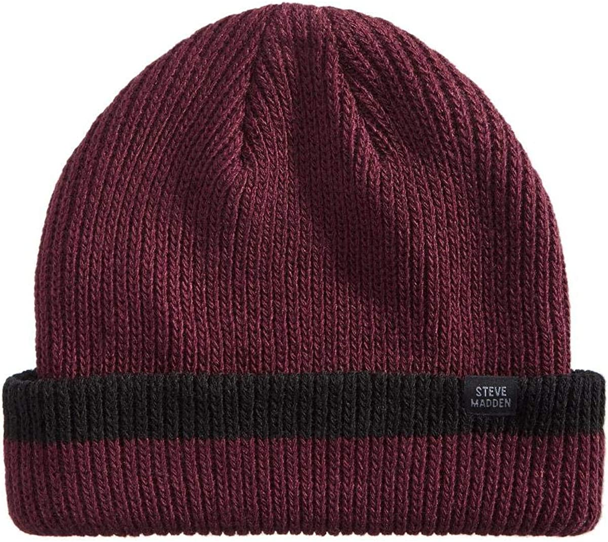 Steve Madden Mens Sale special price Ribbed Cuffed Size Red Beanie Recommendation One Hat