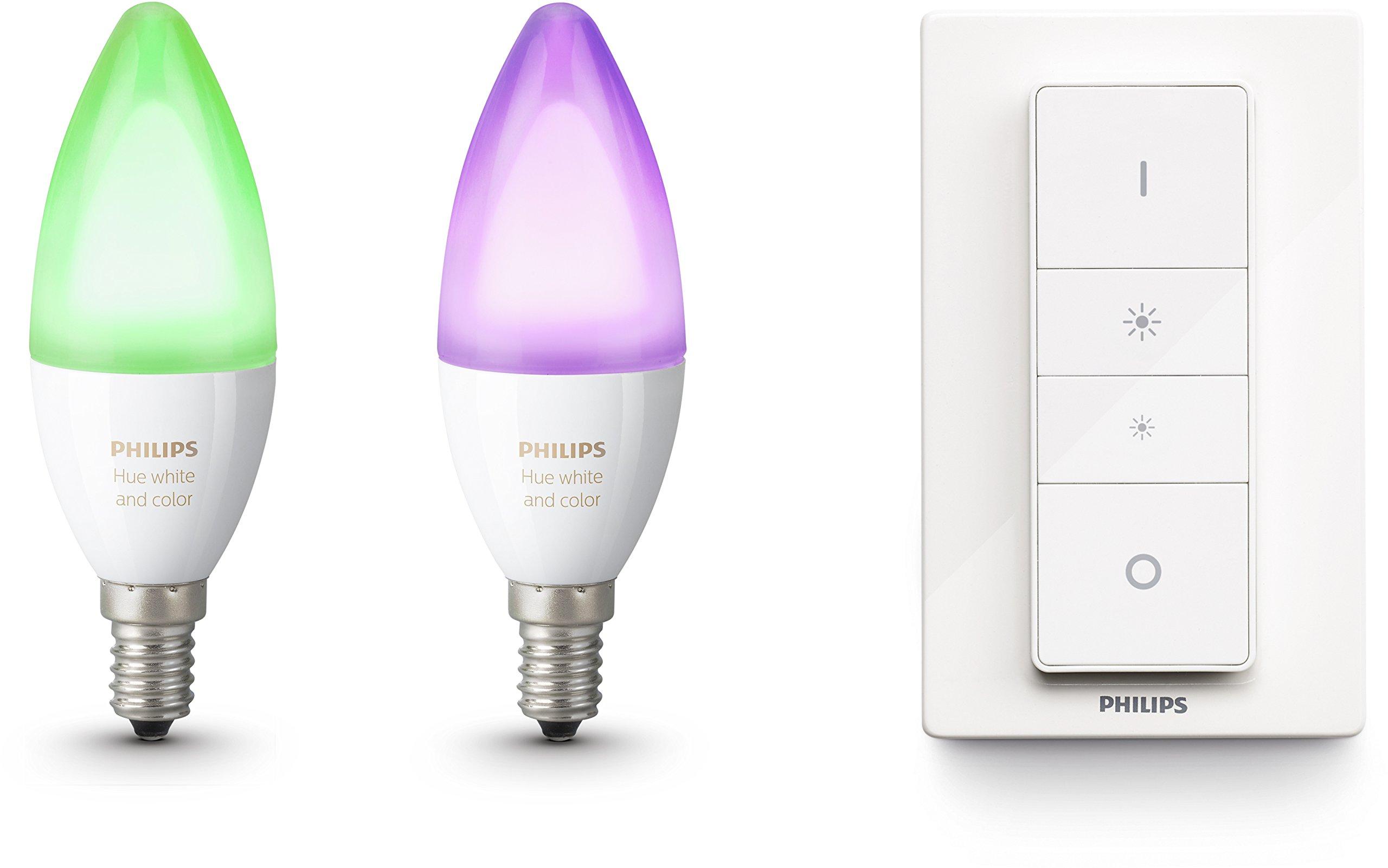 Philips Hue White and Color Ambiance - Pack de 2 bombillas LED E14, 6.5 W, iluminación inteligente, bombillas, cambian de color (compatible con Amazon Alexa, Apple HomeKit y Google Assistant): Amazon.es: Iluminación