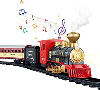 TEMI Electronic Classic Railway Train Sets w/ Steam Locomotive Engine, Cargo Car and Tracks, Battery Operated Play Set Toy...