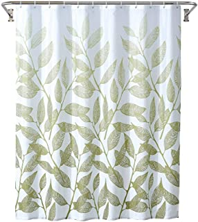 Yostev Ombre Green Leaf Bathroom Fabric Shower Curtain with Hooks,Decorative Bathroom Accessories,Water Proof,Reinforced Metal Grommets 72x72 inches