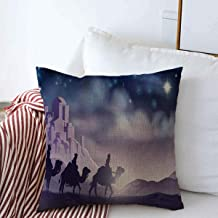 Throw Pillows Covers Cushion Case Christianity Story Nativity Christmas Three Wise Night Holidays Scene Bethlehem Magi Desert Cotton Linen for Fall Couch Home Decor 18 x 18 Inches