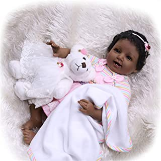 TERABITHIA 22inch 55cm Real Life Smiling African-American Newborn Baby Doll Black Stuffed Cloth Body Bears Reborn Girl Dolls for Collection Look Real