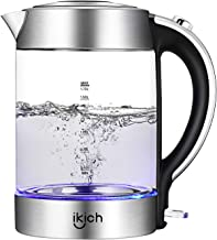 Electric Kettle, IKICH 1.7L BPA-Free Glass Kettle Tea Heater, Hot Water Boiler with LED Light, Auto Shut-Off & Boil-Dry Protection, Stainless Steel Inner Lid & Bottom