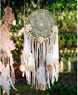 AerWo Boho Dream Catchers Handmade White Gold Feather Dreamcatchers with Flowers for Wall..