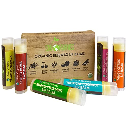 USDA Organic Lip Balm by Sky Organics – 6 Pack Assorted Flavors –- With  Beeswax 0a4c10bb7d020