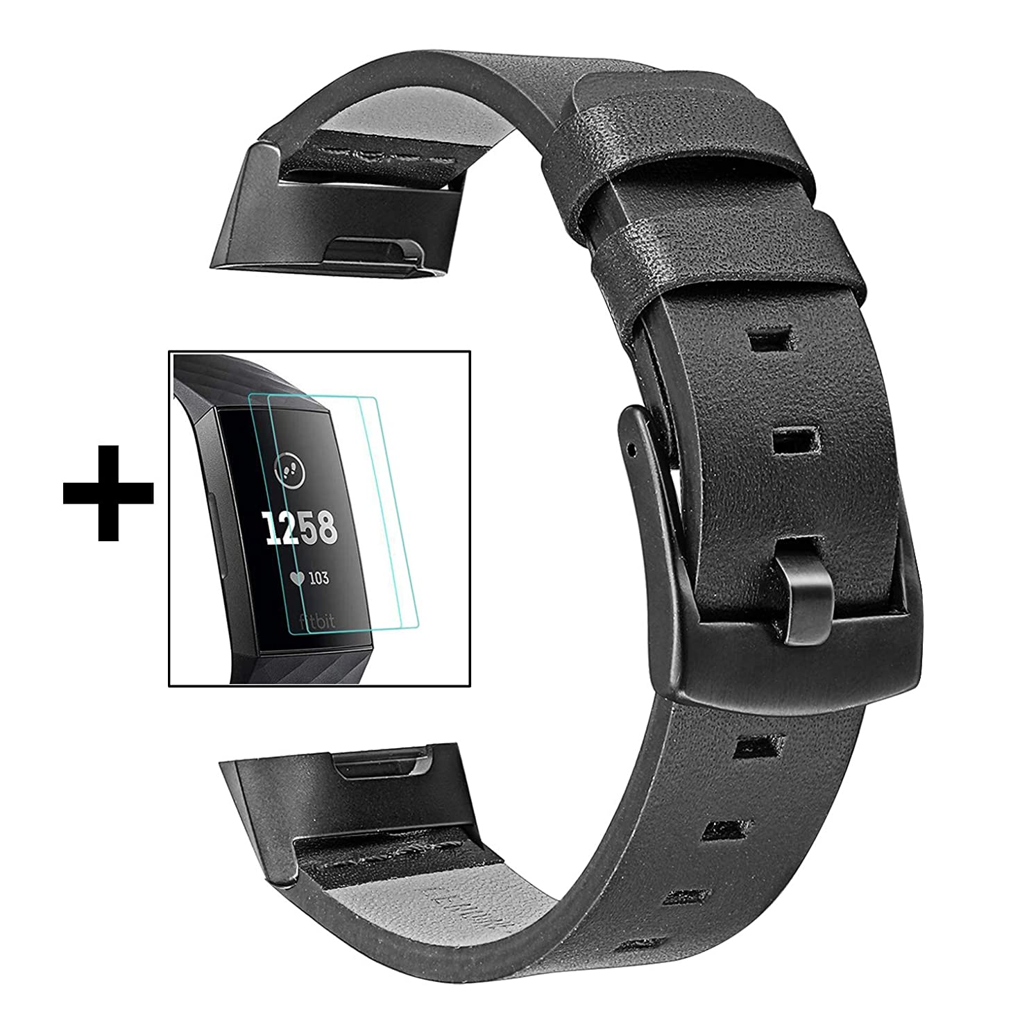 Charge 3 Watchband + 2 TPU Screen Protector Kit, TRUMiRR Genuine Leather Watch Band Sports Strap Stainless Steel Clasp Wristband for Fitbit Charge 3 & Charge 3 SE Men Women, Black