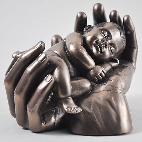 cadeau de bapt/ême ou de Keepsake Id/éal nouveau b/éb/é Bronze Baby en Handful ornement main de lamour