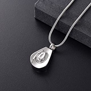 beib Urn Cremation Keepsake Ashes Urns Cremation Jewelry for Ashes - Cowboy Hat Stainless Steel Memorial Urn Necklace Keepsake Pendant for Human