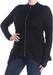 TOMMY HILFIGER Womens Black Zippered Cardigan Handkerchief Hem Top US Size: XL