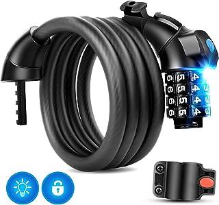 comprar comparacion Cerradura de bicicleta HoLiv con cerradura de cable para bicicleta con luz nocturna LED Código de 4 dígitos - Cerraduras d...